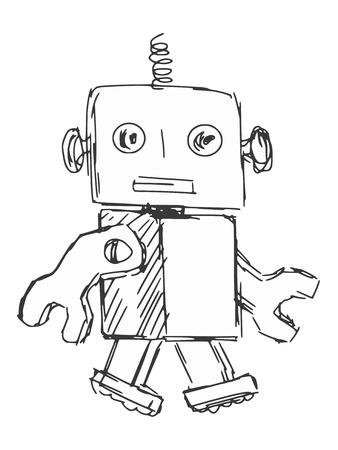 sketch illustration of children robot Vector
