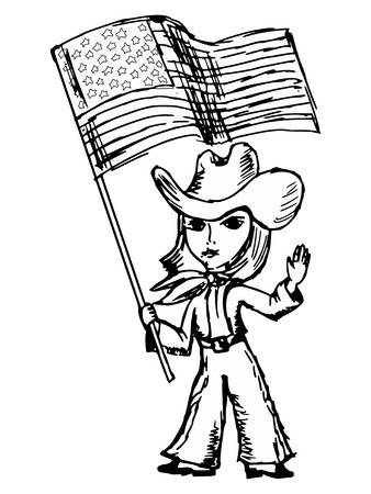 cartoon illustration of a cowgirl with American flag Vector