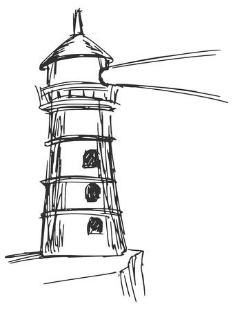 hand drawn, sketch, cartoon illustration of lighthouse Vector