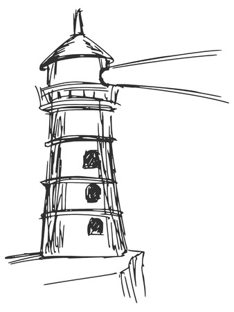 hand drawn, sketch, cartoon illustration of lighthouse Vector