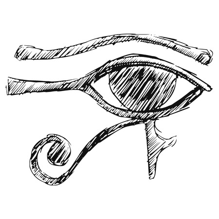 hand drawn, cartoon, sketch illustration of Eye of Ra