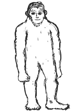 bigfoot: mano dibujada, bosquejo, ilustraci�n de dibujos animados de bigfoot