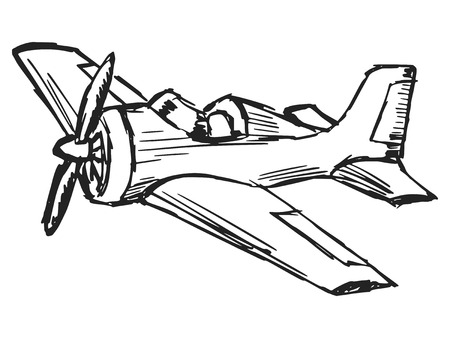 hand drawn cartoon: dibujados a mano, dibujos animados, ilustraci�n boceto de avi�n de dibujos animados Vectores