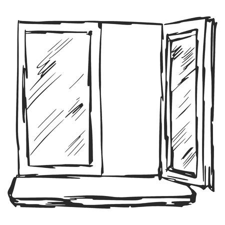window sill: hand drawn, sketch, cartoon illustration of window Illustration