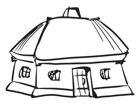 facade and house: hand drawn, sketch, cartoon illustration of Ukrainian house Illustration