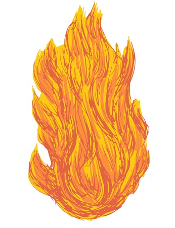 hand drawn, cartoon, sketch illustration of fire Vector