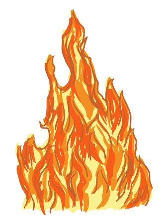 warmness: hand drawn, cartoon, sketch illustration of fire