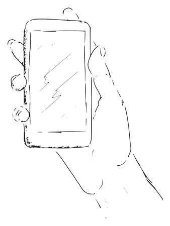 surfing the net: sketch of hand with smartphone