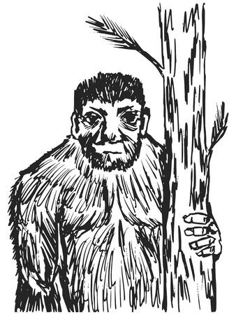 daemon: cartoon hand drawn illustration of bigfoot