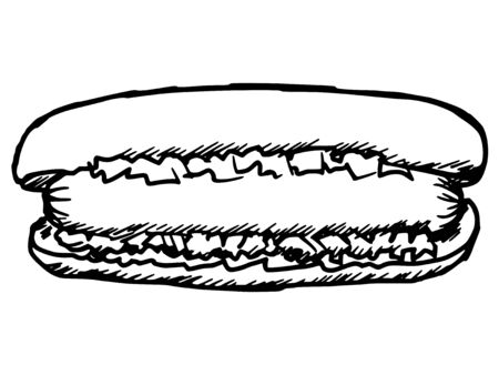 unhealthy living: hand drawn, sketch, cartoon illustration of hot dog