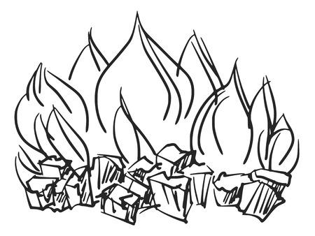 sketch illustration of fire Vector