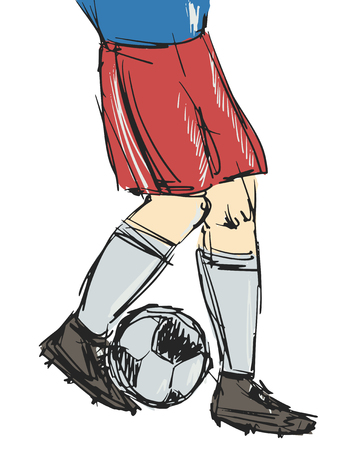 unrecognizable person: cartoon illustration hand drawn of soccer player