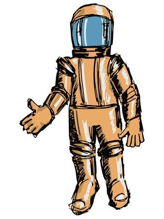 cartoon hand drawn illustration of astronaut Illustration
