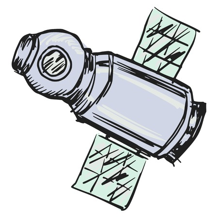cartoon hand drawn illustration of spacecraft Vector