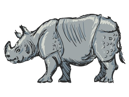 cartoon hand drawn illustration of rhinoceros Vector