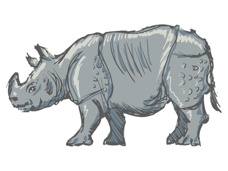 hand drawn, sketch, cartoon illustration of rhinoceros Vector