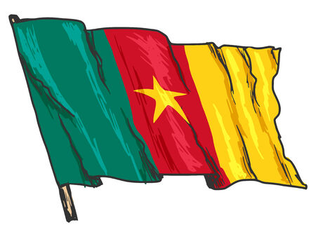 cameroon: hand drawn, sketch, illustration of flag of Cameroon Illustration