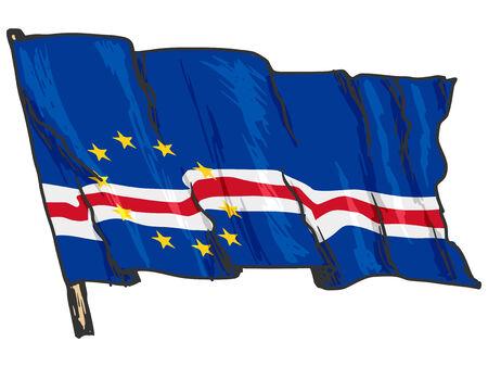 cape verde: hand drawn, sketch, illustration of flag of Cape Verde