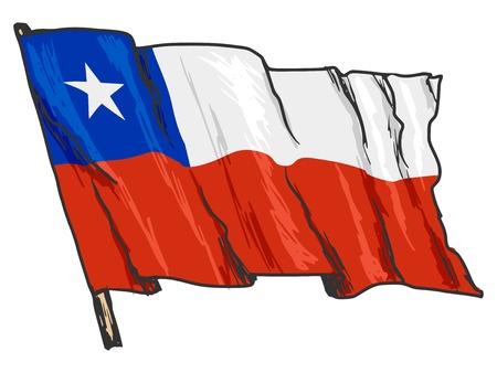 hand drawn, sketch, illustration of flag of Chile Иллюстрация