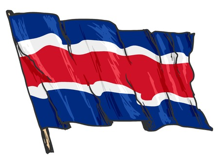 hand drawn, sketch, illustration of flag of Costa Rica