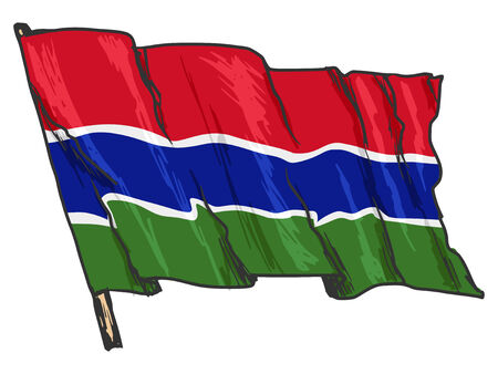 gambia: hand drawn, sketch, illustration of flag of Gambia Illustration