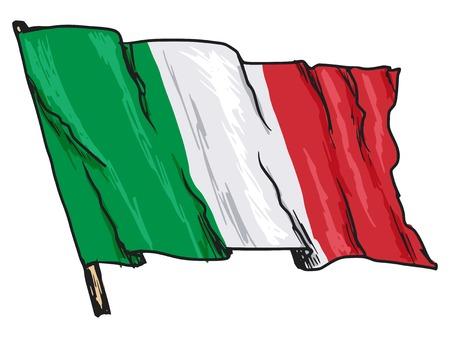 bandera italia: mano dibujada, bosquejo, ilustración de la bandera de Italia