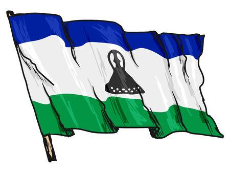 lesotho: hand drawn, sketch, illustration of flag of Lesotho Illustration