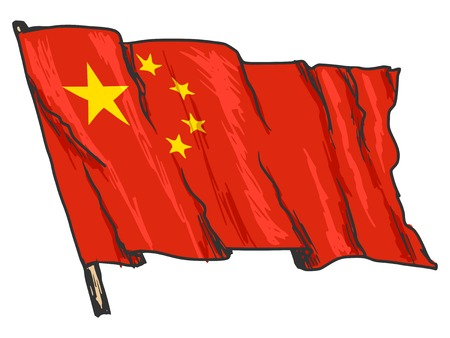 hand drawn, sketch, illustration of flag of China Vector
