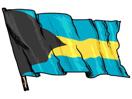 bahamas: hand drawn illustration of flag of Bahamas