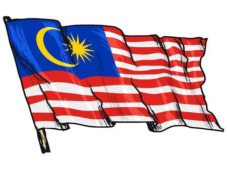malaysia culture: hand drawn, sketch, illustration of flag of Malaysia Illustration