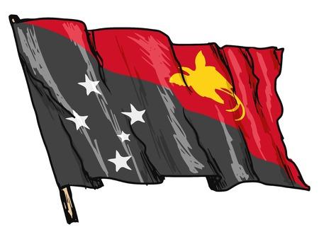 papouasie: main illustration du drapeau de la Papouasie-Nouvelle-Guin�e