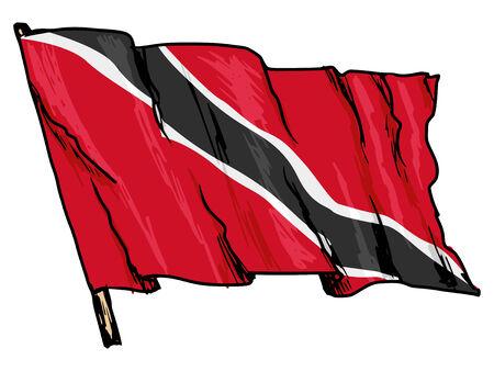 trinidad: hand drawn, sketch, illustration of flag of Trinidad and Tobago