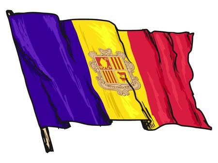 andorra: hand drawn, sketch, illustration of flag of Andorra