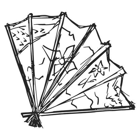 japanese fan: hand drawn, sketch illustration of Japanese fan
