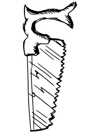 crosscut: sketch, doodle, hand drawn illustration of crosscut saw