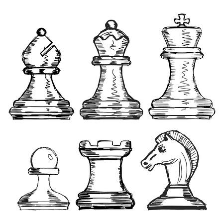 caballo de ajedrez: mano dibujada, arte del, ilustraciones del bosquejo de ajedrez
