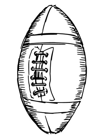 college footbal: sketch, doodle, hand drawn illustration of american football ball