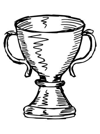 trophy cup: sketch, doodle, hand drawn illustration of trophy cup Illustration