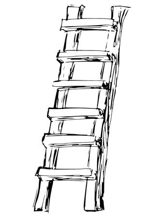 sketch, doodle, hand drawn illustration of ladder Vector