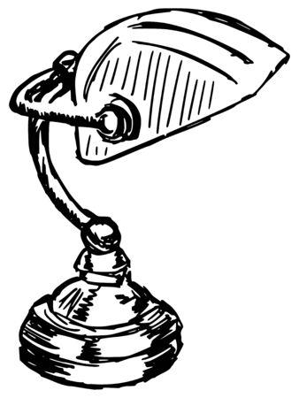 sketch, doodle, hand drawn illustration of bankers lamp