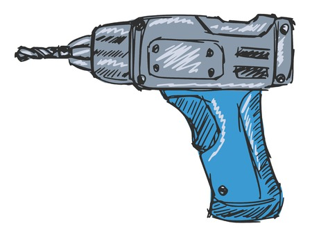 gimlet: sketch, doodle, hand drawn illustration of drill