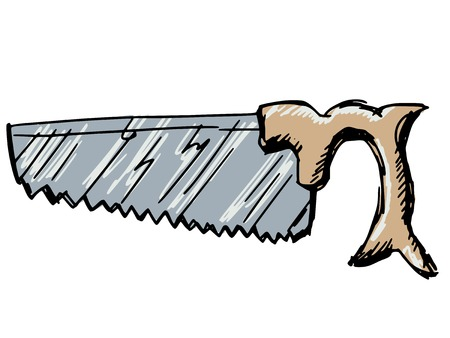 carpentry cartoon: sketch, doodle, hand drawn illustration of crosscut saw