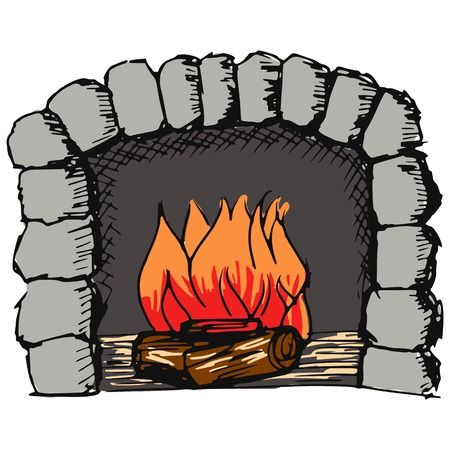 sketch, doodle, hand drawn illustration of fireplace Vector