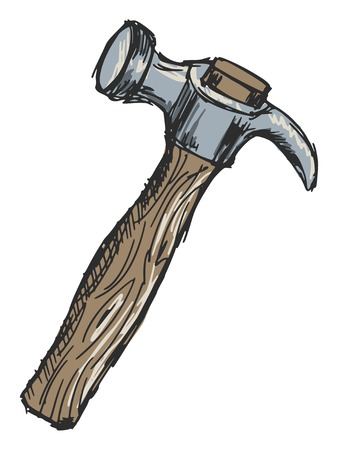 nobody: sketch, doodle, hand drawn illustration of hammer Illustration