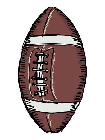 footbal: sketch, doodle, hand drawn illustration of american football ball