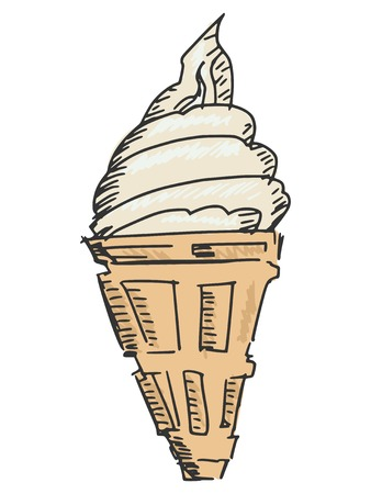 sketch, doodle, hand drawn illustration of ice cream Vector