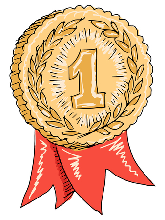 sketch, doodle, hand drawn illustration of gold award Vector