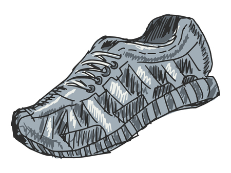sketch, doodle, hand drawn illustration of training shoes Vector