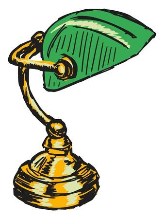 croquis, griffonnage, illustration tirée par la main de lampe de banquiers