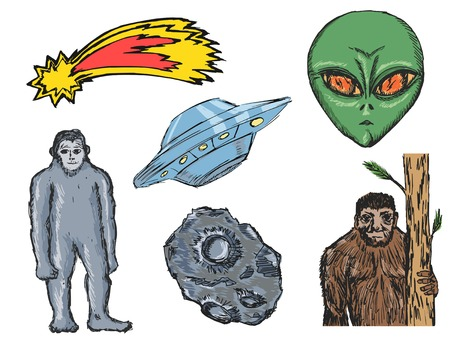 ufology: set of doodle illustration of different paranormal activities